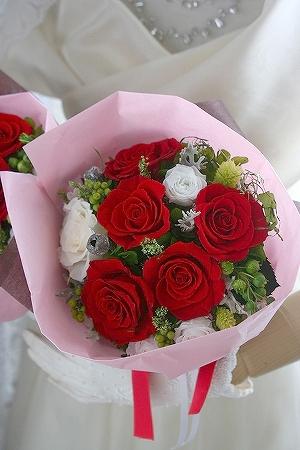 プリザーブドフラワー   ご両親へ 花束とブートニア
