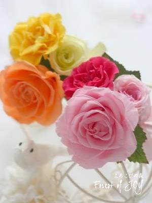 プリザーブドフラワー | 贈呈花 * お色違いのリースとブートニア *